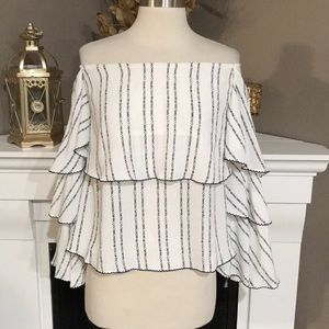 Olivaceous White/Navy  Ruffled Off Shoulder Top